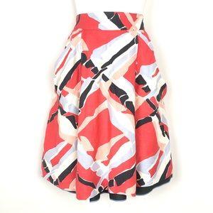 Anthropologie // sz S Odille linen skirt coral